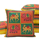 #6: The Purple Tree Printed Rajasthani Art Cushion Covers 16x16 inches ( 5 pieces ), Cotton Cushion Covers