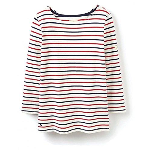 Joules Hafen Jerseyshirt (V) UK12 EU40 US8 Cream Red Navy Stripe Picture