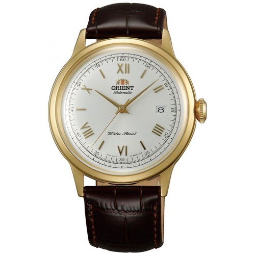 Orient Men's 41mm Brown Alligator Leather Band Steel Case Automatic White Dial Analog Watch ER24009W