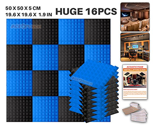 ace-punch-16-pack-2-colors-black-and-blue-pyramid-acoustic-foam-panel-diy-design-studio-soundproofin
