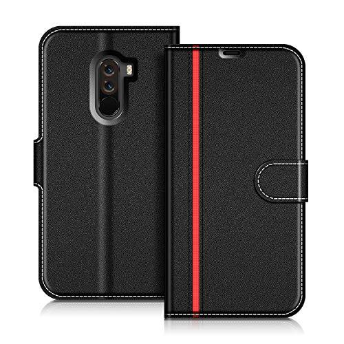 coodio Xiaomi Pocophone F1 Hülle Leder Lederhülle Ledertasche Wallet Handyhülle Tasche Schutzhülle mit Magnetverschluss/Kartenfächer für Xiaomi Pocophone F1, Schwarz/Rot