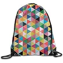 ewtretr Bolsos De Gimnasio, Colorful Triangle Gym Drawstring Backpack Unisex Portable Sack Bags