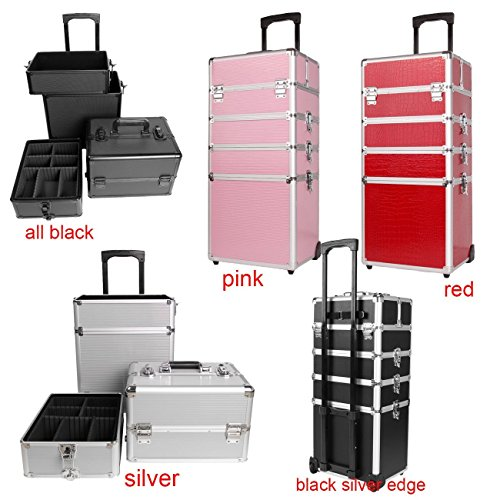Ridgeyard 5 in 1 Universal Large Aluminium Beauty Make up Cosmetic Rolling Case Trolley Trunk Vanity Professional Portable Travel Organizer Box Bag (Black with Silve Edge)