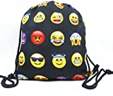 Emojis Drawstring Bags Backpack with Polyester Material Sport String Sling Bag for Kids Teens - Black