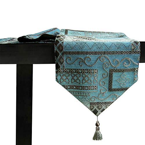 Artbisons Mesa de comedor hecha a mano Mesa Lino de mesa (183x33cm, Abstracto Caminos de mesa)