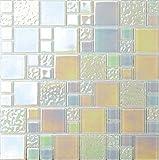 10cm x 10cm Muster Glas Mosaik Wandfliesen Weiß Grün irisierendes Perlmutt Optik Blatt (MT0173 Sample)