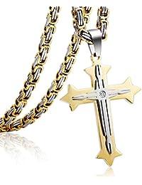 Trendsmax Cadenas muchachos de los hombres del oro cruz de plata colgante de collar de cadena de acero inoxidable bizantino