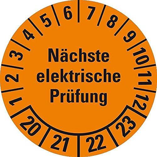 LEMAX® Prüfplakette Nächste elektrische Prüfung 20-23,orange,Dokufolie,Ø30mm,18/Bogen