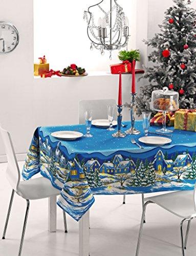 Tovaglia natale paessaggio blu 140x235cm