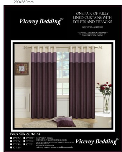 Pair of Fully Lined Purple, Lilac, Cream 66″ Width x 90″ Drop Faux Silk THREE TONE Eyelet / Ring Top Curtains with Matching Tiebacks by VICEROY BEDDING