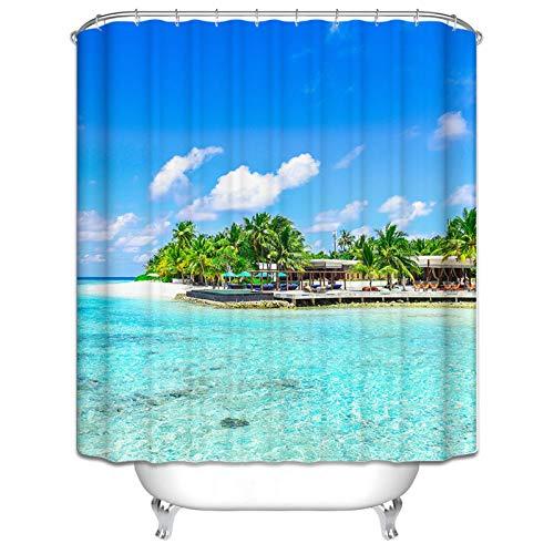 Bishilin 3D Badvorhang Vintage Sommer Urlaub am Meer Duschvorhang Anti-Schimmel 180x180