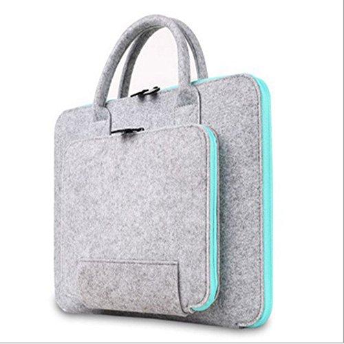 Laptop Hülle 13,3 Zoll Laptoptasche Filz Schutzhülle für Damen / Grau & Hellblau (13green)