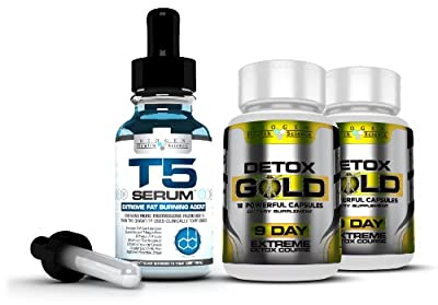 Complete Detox & Slimming / Weight Loss Bundle - T5 Fat burners Serum XT & Detox Gold: (Maximum Strength 1 Month Supply) from Biogen Health Science