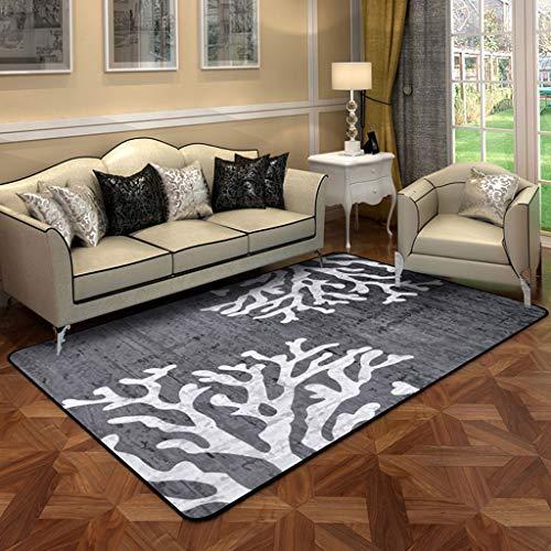 Mjb Nordic Simple Style Kreatives Korallenmuster Kurzflor Teppich Anti-Rutsch-Teppiche Wohnzimmer Schlafzimmer Couchtisch Pad Rechteckige Nachttischdecke (Kissen: E, Größe: 120 x 180 cm)
