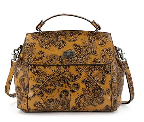 Xinmaoyuan Borse donna in vera pelle stampa retrò borsette benne di spalla,giallo Giallo