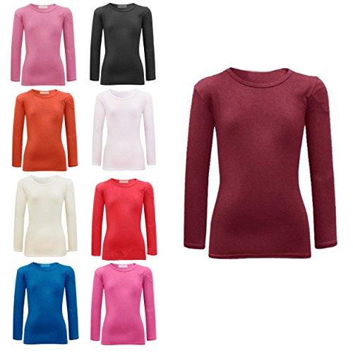 AEL Mädchen T-Shirt Langarmshirt aus Baumwolle Einfarbig mit Stretch Neu - 122-128, Creme -