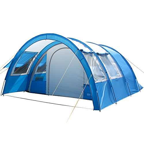 Skandika Kemi 4 Personen Tunnelzelt, Familien Gruppen Zelt mit versetzbarer Wand, Sonnendach, 2 Schlafkabinen, 3000 mm Wassersäule, blau/grau