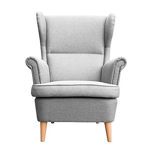 myHomery Sessel Luccy gepolstert - Ohrensessel Polsterstuhl für Esszimmer & Wohnzimmer - Lounge Sessel mit Armlehnen - Eleganter Retro Stuhl aus Stoff mit Holz Füßen - Hellgrau | Sessel - Home Lounge-sessel