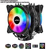 upHere 5V ARGB LED Ventola per CPU 4 Heatpipes con Ventola da 120mm PWM- 5V Supporto ASUS Aura SYNC/GIGABYTE ARGB Fusion/MSI Mystic Light SYNC/AsRock Polychrome Sync-AC12RGB