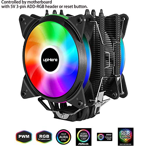 Led-heatpipe (upHere 4 Heatpipes RGB LED CPU-Lüfter mit 2 x 120 mm PWM Lüfter, unterstützt Asus Aura Sync/GIGABYTE RGB Fusion/MSI Mystic Light Sync/AsRock Polychrome Sync-AC12RGB)