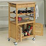 SoBuy® FKW53-N Servierwagen Küchenwagen mit Korb und Flaschenablage Küchenregal Rollwagen Bambus BHT ca: 56x92x36cm - 3