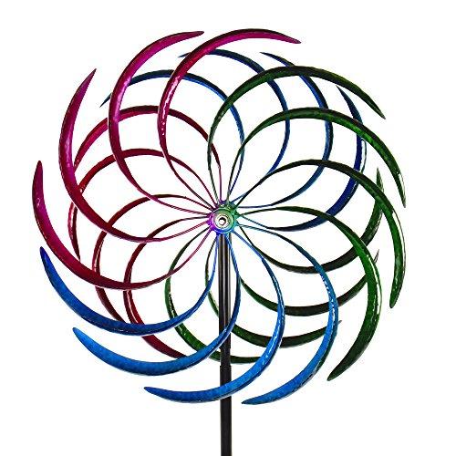 Windrad Windspiel Garten Dekoration Wetterfahne aus Eisen mit 2 Windrädern Ø 53 cm in Spiralform MANDALA 200 cm hoch   Garten > Dekoration > Windspiele   Anthrazit - Blau - Grün - Rosa   Eisen   Roomando