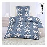 Sterne Bettwäsche aus Seersucker 135x200 cm mit Reißverschluss Bügelfrei Blau mit Kleinen Sternen
