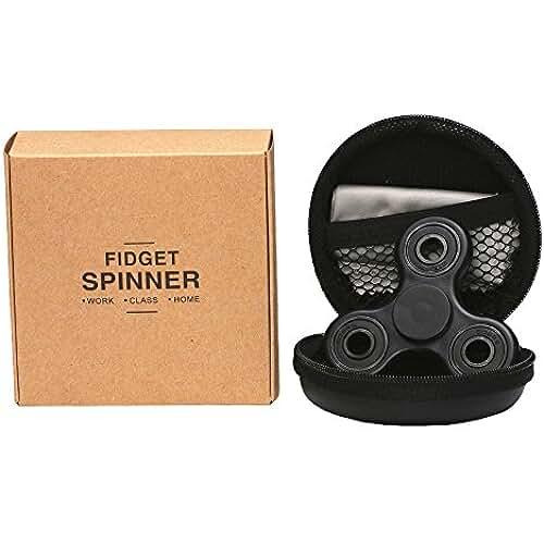 fidget spinner el nuevo juguete de moda Cosy Zone Tri Fidget dedo de mano Spinner EDC ADHD Focus Toy ultra duraderos de alta velocidad Si3N4 Hybrid cerámica teniendo 1-3 Mins giros no-3D impreso - juguete de dedo, gran regalo (Negro)