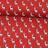 Stoffe Werning Baumwollstoff Weihnachten Rentiere rot