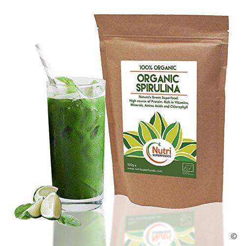 Espirulina Orgánica en Polvo, Apto Para Veganos, Rica en Nutrientes, Ayuda al Rendimiento Físico, Alto en Clorofila, Vitaminas, Minerales y Aminoácidos para una Mejor Salud. 500g