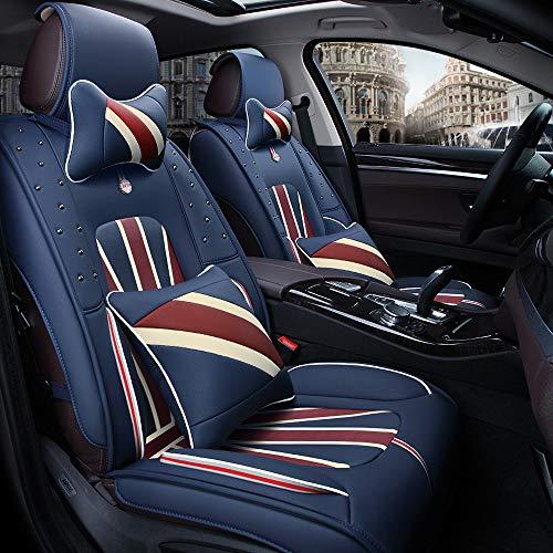 Coprisedili per auto Custom, set completo in pelle per 5 posti Coprisedili posteriori per seggiolino auto con colori bandiera USA, Regno Unito, Francia (England have pillow)