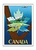 Pacifica Island Art Kanada - Ahornblatt mit Landschaft - Vintage Retro Fluggesellschaft Reise Plakat Poster von Jean Marie Nabrin c.1952 - Premium 290gsm Giclée Kunstdruck - 30.5cm x 41cm