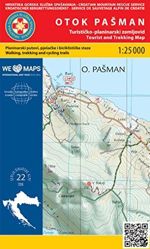 Otok Pašman 1:25.000 carte de randonnée (Croatie)