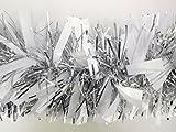 Chunky / Fine Weihnachten Lametta - 3 Meter - Weihnachtsdekoration - Baumschmuck (Weiß / Silber)