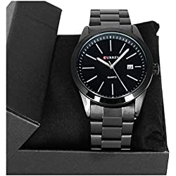 Denis Charm CURREN Men Black Big Dial Quartz Adjustable Stainless Steel Band Precision Military Watch with Calendar + Watch Gift Box