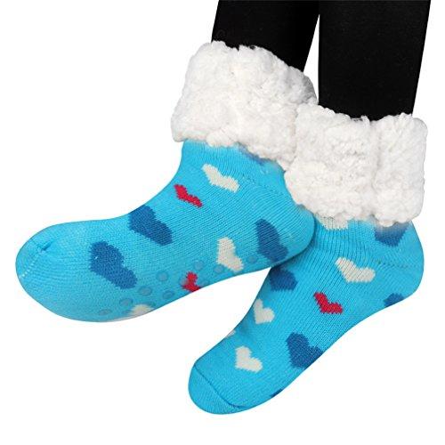 Kfnire mujeres térmicas calcetines súper gruesas calcetines en casa forro polar sin deslizamiento calcetines (azul)