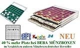 SAFE MÜNZBOXEN BEBA - MB6112G - 144 x 22.5 MM FÄCHER GRATIS mit grünen Filzeinlagen - für Münzen bis 22.5 mm und Münzkapseln bis Caps 16,5 mm - Ideal für 1, 2, 5, 10, 20 Cent & 1 - 50 Pfennig