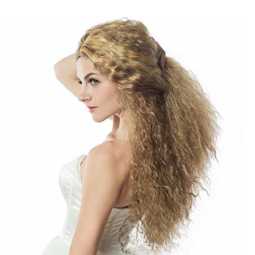 Lange Afro Lockige Perücke Kunsthaar Damen 80er Perücke Lockige Blond Vintage Perücke Täglicher Gebrauch Perücke Natural Haar Gewellte für Tägliche/Party/Geburtstag/Fasching/Karneval