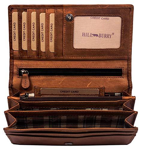 Hill Burry Hochwertige Geldbörse | aus Weichem Vintage Leder - Langes Portemonnaie -...