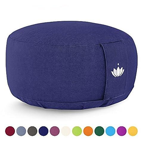 Lotuscrafts Meditationskissen / Yogakissen LOTUS - Bezug: Baumwolle (kbA) - GOTS zertifiziert – Mit Bestickung (Königs Blau)