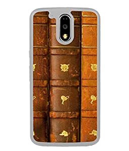 PrintVisa Designer Back Case Cover for Motorola Moto G4 Plus (Books with Leather Covers for Higher Studies)