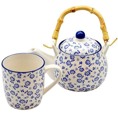 Nicola Spring Ensemble composé d'une théière/cafetière (500 ML) avec Motifs de Marguerites Blanches et Bleues et poignée en Bambou et d'une Tasse (280 ML)