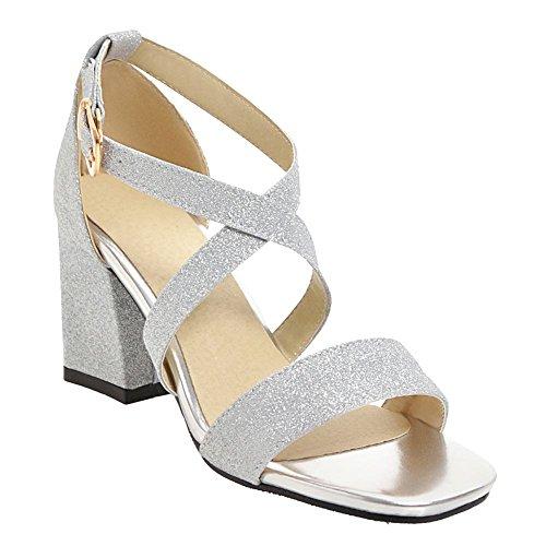 Misssasa donna sandali estivo elegante (35, argento)