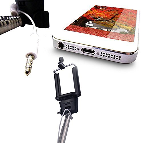 Heartly Selfie Stick Extendable Monopod With Adjustable Phone Holder & Wired Aux Cable For Mobiles And Cameras Red Stick + Orange Button