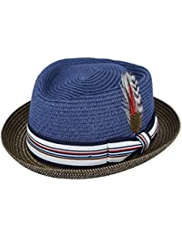 f7e435ad4fa43 MAZ Unisex Paper Straw Pork Pie Hat Crushable Summer Trilby with Band and  Adjustable Sweatband