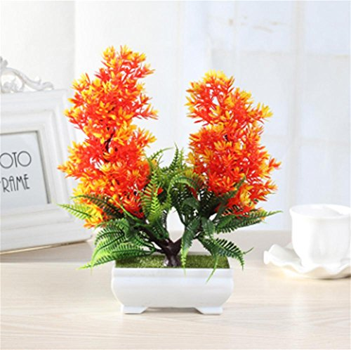 Simulationsanlagen, Mini-Töpfe, Bonsai, Wohnzimmer Bürotisch gefälschte Pflaume grüne Pflanze, dekorative Ornamente Set , sunset red