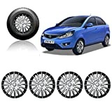 #2: Autopearl Full Wheel Cover Cap Silver & Black 15 Inches Press Type Fitting For - Tata Zest