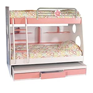 Pink & White Kids Bunk Bed with 3rd Pull-Out Bed
