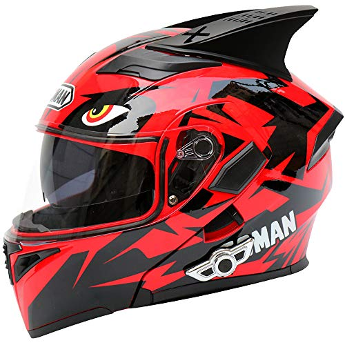 Mengen88 Flip Up Motorcycle Bluetooth Helmet, Antianneging Double Lens Open Face Helmet Built -in Ampliffier Supports Stereo Call for Male, Femminile Open Face Full Waterrepous Helmet,skyred,XXL