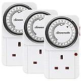 DEWENWILS Indoor Mechanical Timer Socket,24 Hour Programmable Energy Saving Light Timer for Lamp,Router